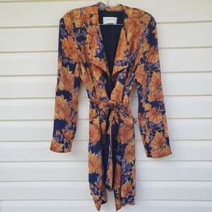 Babaton Floral Quincy Trench Jacket Robe Floral S